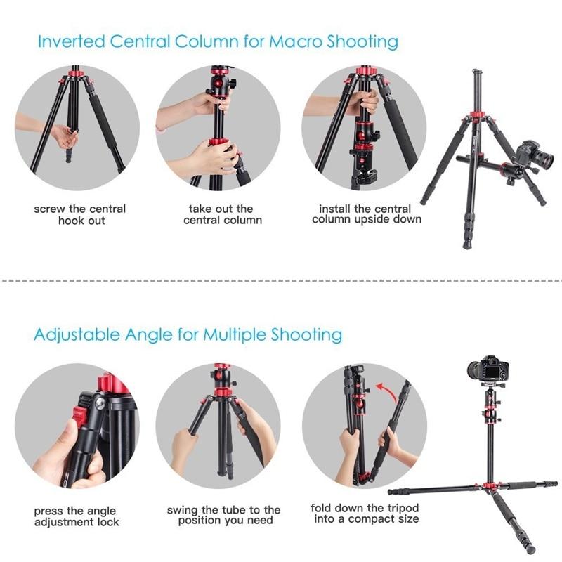 ZOMEI M8 Camera Tripod Portable Monopod Overhead -5