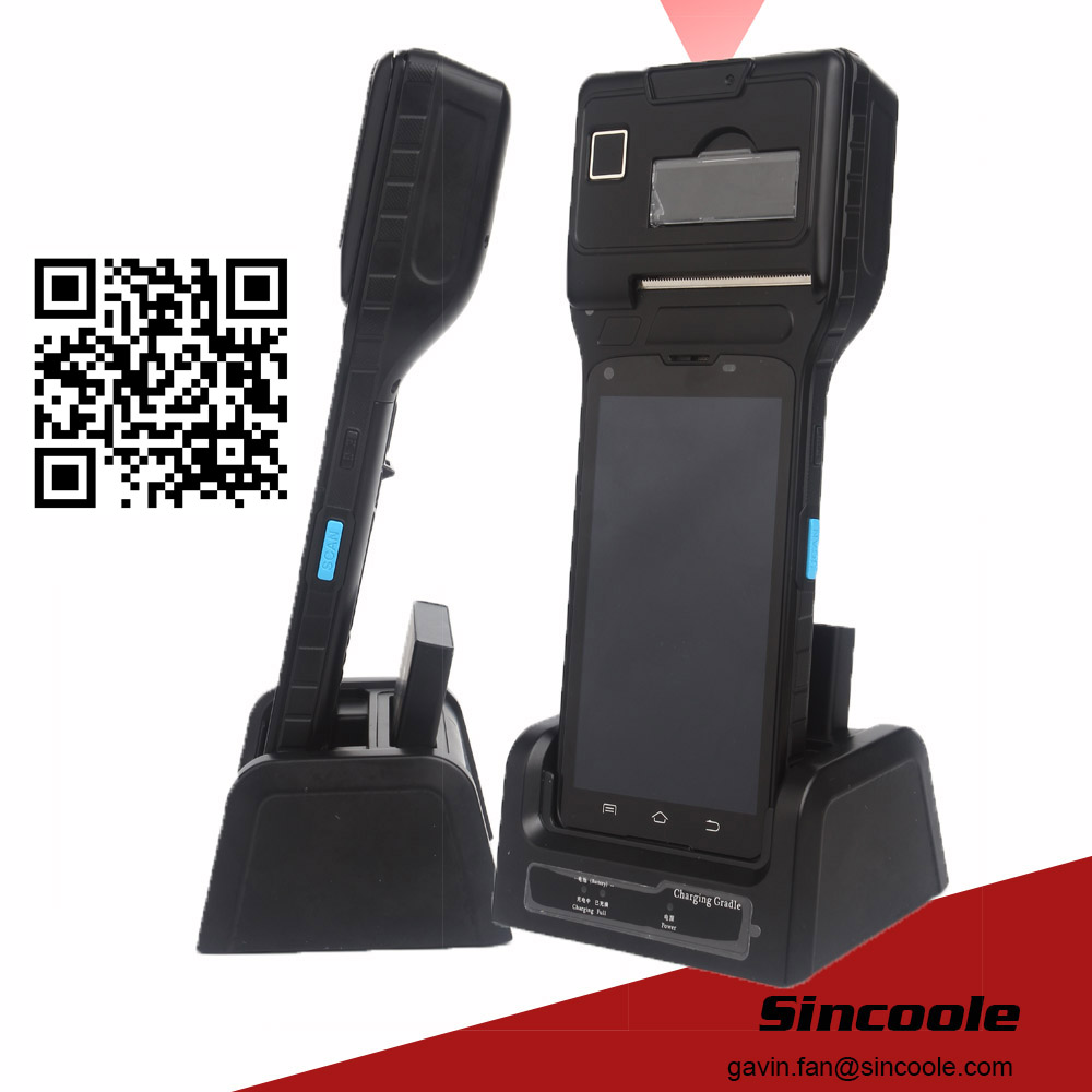 5 inch android 5.1 2D barcode thermal print and fingerprint handheld terminal support NFC RFID WIFI BT4.0 SD max 32GB