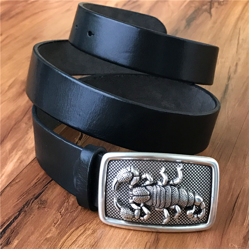 TOP Quality 3D Scorpion Belt Buckle Super Thick Genuine Leather Luxury Cowboy Belt Wide Ceinture Homme