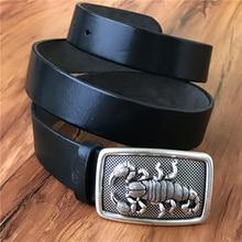 TOP Qualität 3D Skorpion Gürtelschnalle Super Dicke Echtem Leder Luxus Cowboy Gürtel Breite Ceinture Homme Cinturones Hombre MBT0478