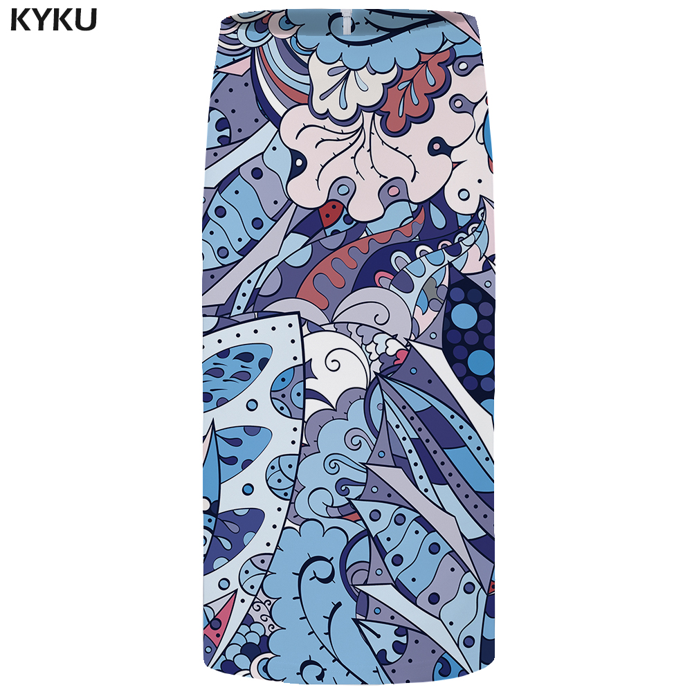 Kyku Flower Skirts Women Colorful 3d Print Skirt Harajuku Floral Pencil Casual Party Ladies Skirts Womens Vintage Sundresses