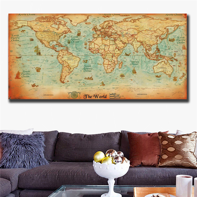 The old World Map large Vintage Style Retro Paper Poster Home decor new.