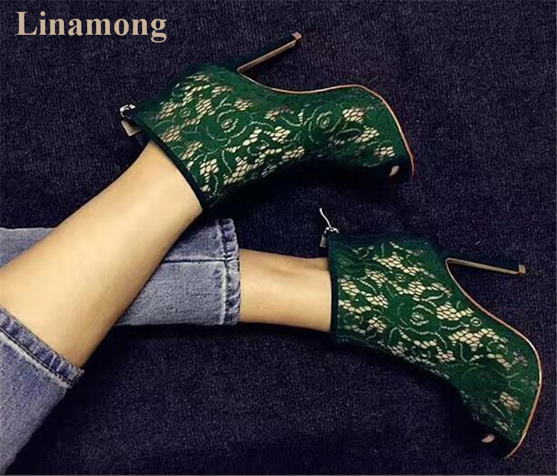2018 Spring and Summer Newest Fashion Sexy Women Boots Lace-like fabric over ankle thin high heels boots2018 Spring and Summer Newest Fashion Sexy Women Boots Lace-like fabric over ankle thin high heels boots