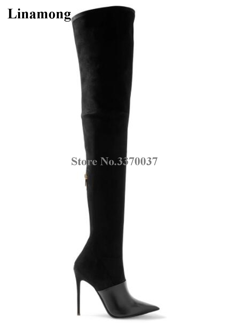 Women Sexy Pointed Toe Leather-Suede Over Knee Thin Heel Elastic Boots Brown Black Thigh Long High Heel Boots Party Shoes black stretch fabric suede over the knee open toe knit boots cut out heel thigh high boots in beige knit elastic sock long boots