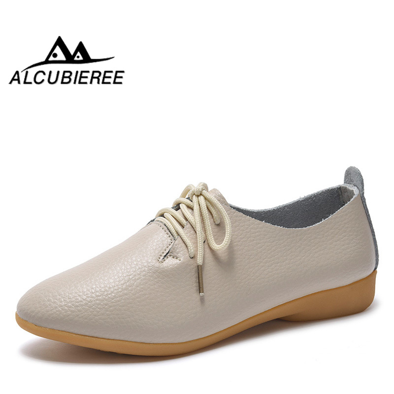 2018 New Women Shoes Genuine Leather Women's Shoe Lace-Up Female Flats Pointed Toe Woman Oxfords Large Size 35-44(China)