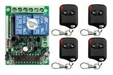 Sistema del Interruptor de Control Remoto Inalámbrico DC12V 2CH teleswitch 1 * Receptor + 4 * Transmisores para Electrodomésticos Puerta del ojo de gato La Puerta del garaje