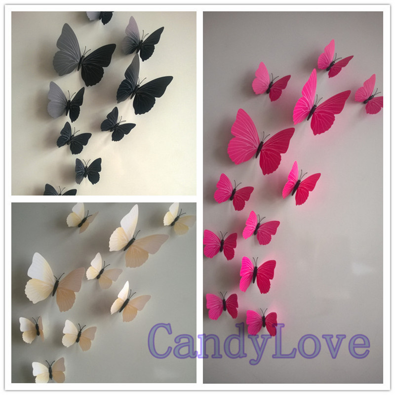 Aliexpress Com Buy 120pcs 3d Butterfly Decoration Butterfly Wall Stickers 3d Butterfly Stickers Clock To Wall Bedroom Decor Cdh0069 From Reliable Sticker