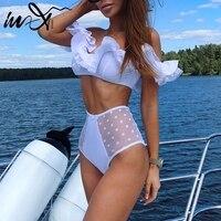 In X Fora do ombro top Plissado sexy bikinis 2019 mujer Malha maiô Feminino cintura alta biquíni Branco swimwear Mulheres maiô|  -