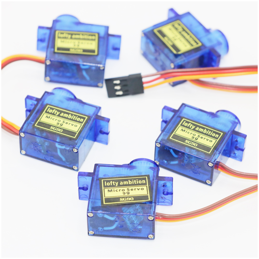 Gratis fragt !! 5pcs / lot Nye 9G Micro / Mini Servos + Horns For rc Helicoper Airplane bedre end SG90