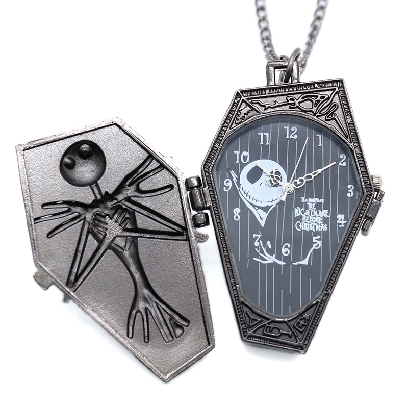 Antique Black Quartz Pocket Watch The Nightmare Before Christmas Coffin Bronze Pendant Necklace Chain Gift Jack Skellington