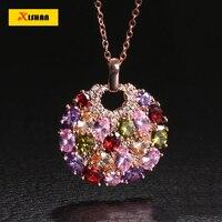 New Fashion Necklace Color Zircon Pendant Crystal Necklace Unique Design Flower Jewelry Lady Exclusive