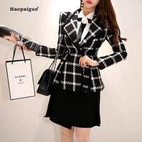 Plus Size Autumn Winter Women 2018 Coats Black Full Sleeve Notched Plaid Suit Woollen Office Lady Coat Work Ladies Outwear Coats