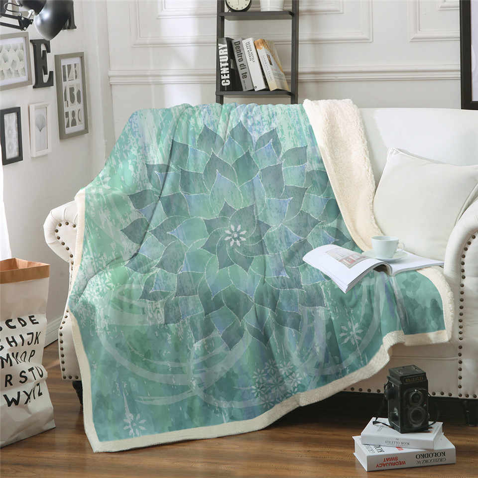 Floral Lotus Sherpa Blanket for Beds Velvet Plush Boho Mandala Throw Blanket Flowers Bedspread Sofa Cover 1pc