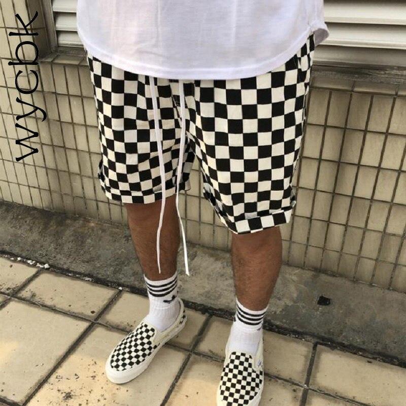 Brand Summer Fashion Casual Checkerboard Plaid Shorts Street Hip Hop Men Women Justin Bieber Sweatpants Joggers