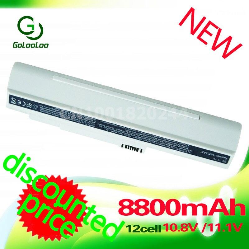 Golooloo 12 Cellules UM08A71 UM08B74 UM08A51 batterie pour acer Aspire one eMachine eM250 pour Passerelle LT1001J LT2000 D150 D250