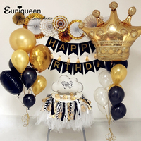 Gold Black Happy Birthday Foil Balloons Set With Black Letter Banner And Gold Crown Paper Fan Backdrop Baby Shower Supplies