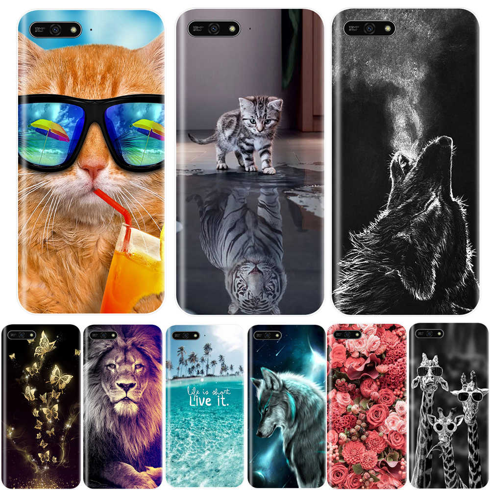 Phone Case For Huawei Y3 Y5 Y6 2017 II Pro Soft Silicone TPU Cute Cat Painted Back Cover For Huawei Y6 Y7 Y9 Prime 2018 Case