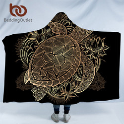 BeddingOutlet Golden Animal Collection Hooded Blanket Turtle Tortoise Sherpa Fleece Wearable Blanket Dolphin Owl Throw Blanket