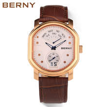 Men Watches Top Brand Date Day Genuine Leather Clock Luxury Rose Gold Casual Watch Men's Quartz Sports Berny Wrist Watch 2707M