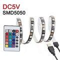 5050 RGB СВЕТОДИОДНЫЕ Ленты Водонепроницаемый USB Полосы DC5V 50 СМ 1 М 2 М СВЕТОДИОДНЫЕ Гибкие СВЕТОДИОДНЫЕ ТВ Фоне Освещения с 24 ключей Дистанционного Управления