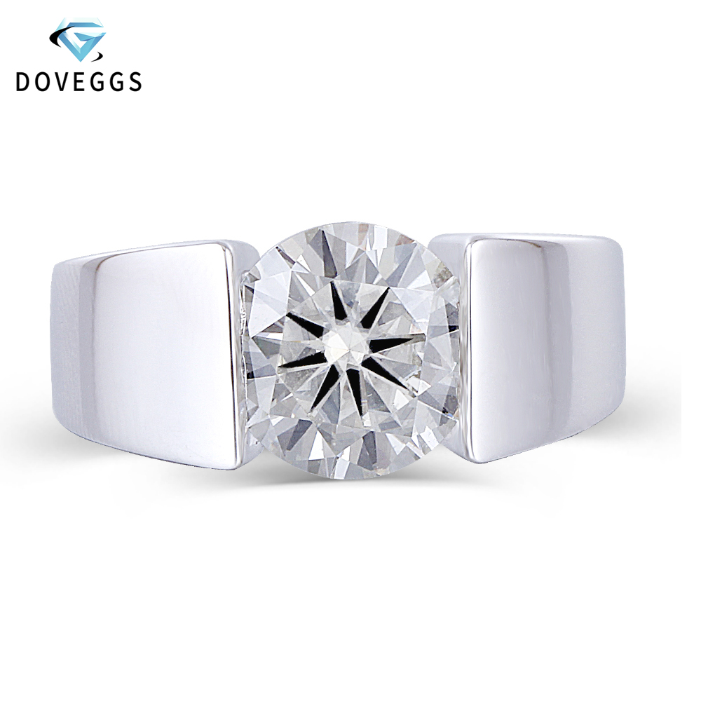 DovEggs Center 3ct carat 9mm GH Color Moissanite Engagement Ring For Men and Women Platinum Plated