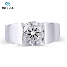 DovEggs Center 3ct carat 9mm GH Color Moissanite Engagement Ring For Men and Women Platinum Plated Silver Sterling Wedding Bands