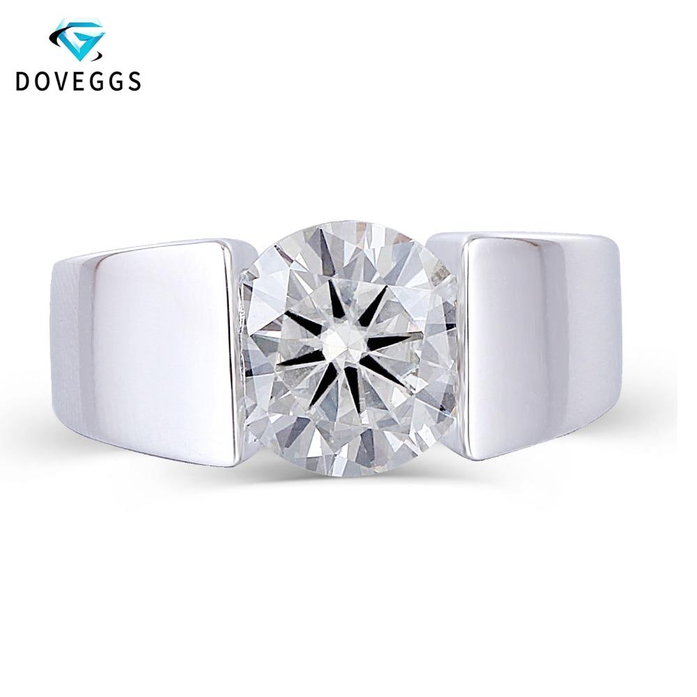 Takı ve Aksesuarları'ten Halkalar'de DovEggs Merkezi 3ct karat 9mm GH Renk Moissanite Nişan Yüzüğü Erkekler ve Kadınlar Için Gümüş Katı 925 Gümüş Düğün bantları'da  Grup 1