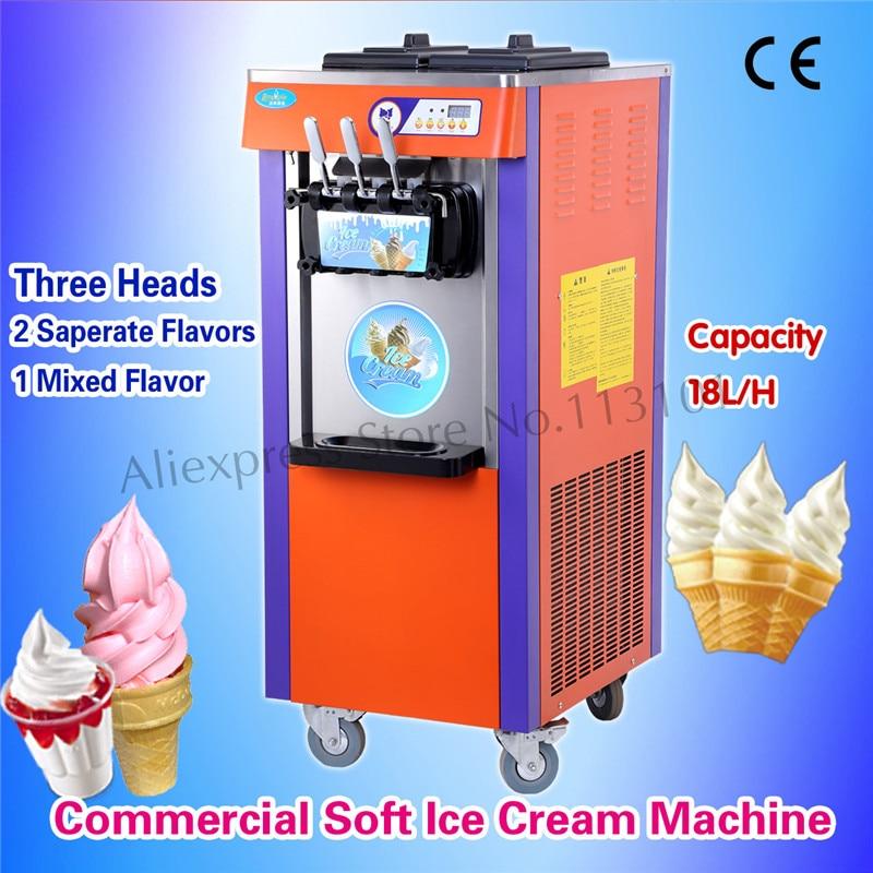 Ice Cream Machine Floor Standing Sundae Maker Ice-cream Parlor Device Soft Serve Equipment for Restaurants 3 Heads with Wheels