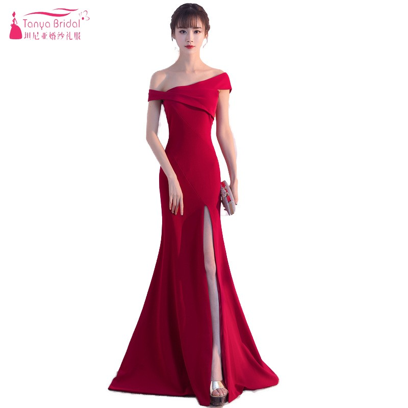 One Shoulder Long Mermaid Red   Evening     Dresses   Sexy Side Slit Floor Length Prom Gown Simple Style Lady Gowns DQG514
