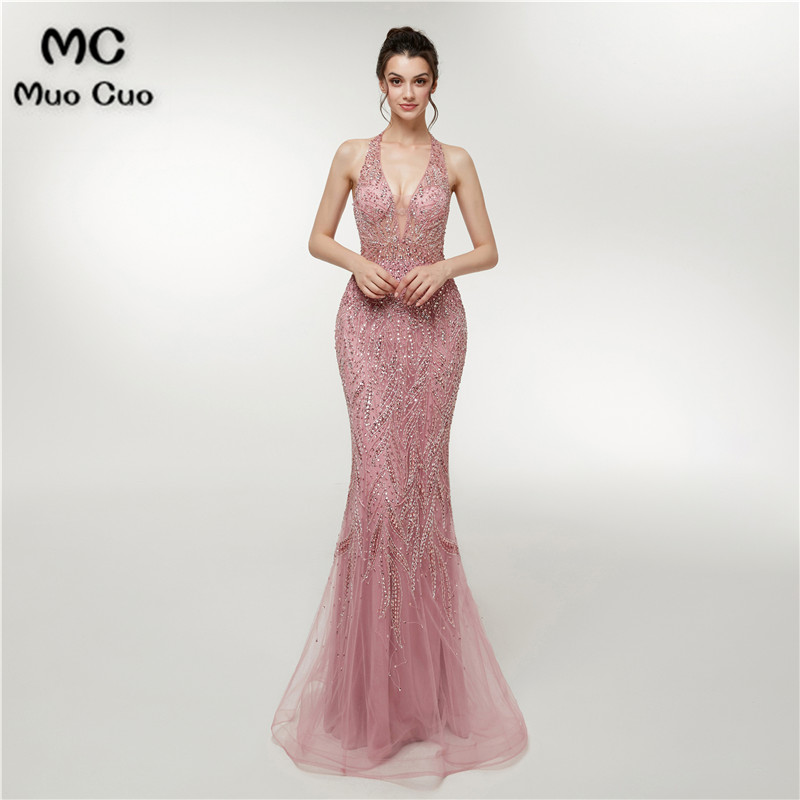 2018 Illusion Mermaid   Prom     dresses   Long with Crystals Beads Vestidos de fiesta   dress   for graduation Women's Evening   Dress