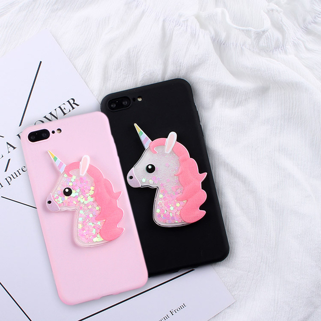 the latest a427f cc0bd US $1.98 20% OFF|IZYEKY Squishy Soft Case For Samsung S7 S6 Edge Liquid  Glitter unicorn Flamingo case For Samsung Galaxy S6 S7 Edge S8 Plus-in ...