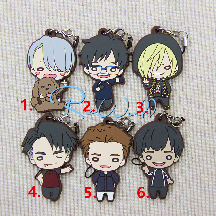 Yuri!!! on Ice Anime Nikiforov Victor Katsuki Yuuri Plisetsky Yuri Beaneye Ver Japanese Rubber Keychain отадоя миф 06