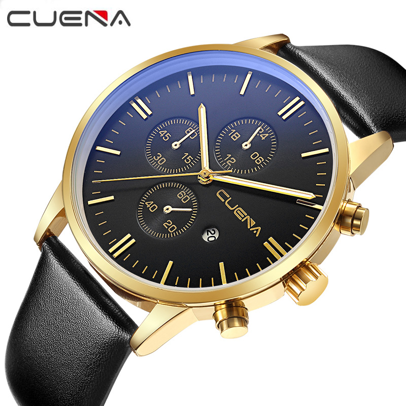 Fashion Brand CUENA Men Casual Quartz Watches Genuine Leather Male Wristwatches Waterproof Date Clock 6619