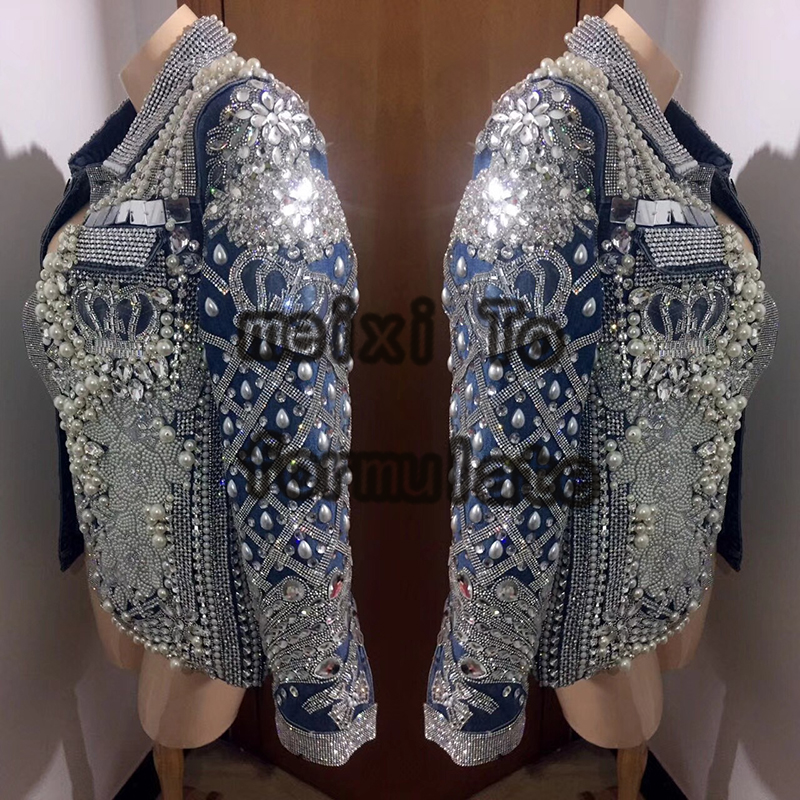 Blue Jean Jacket Pearl Rhinestone Jacket Nightclub Concert Singer Dancer Dress