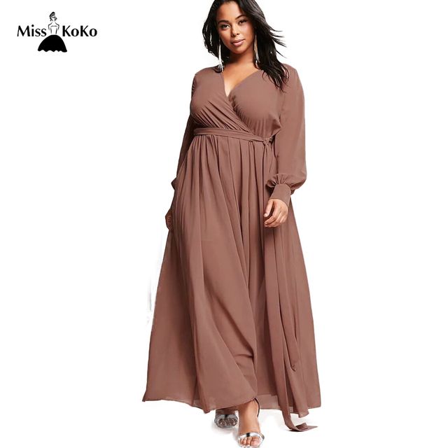 a3fcd1f486 Misskoko Women Plus Size Surplice Maxi Dress Wrapped Long Sleeve V Neck  Female Bohemian Vestidos Empire Lace Up Dress Big Size