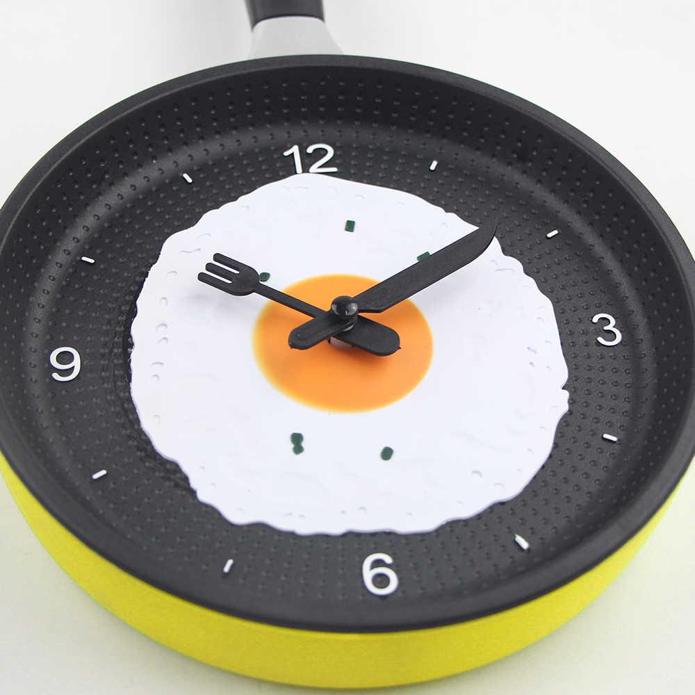 2019 New Arrival Lovely Design Fried Pan Clock Plastic Kitchen Wall Clock  for Home Decoration Quartz Time Clocks Horloge Murale