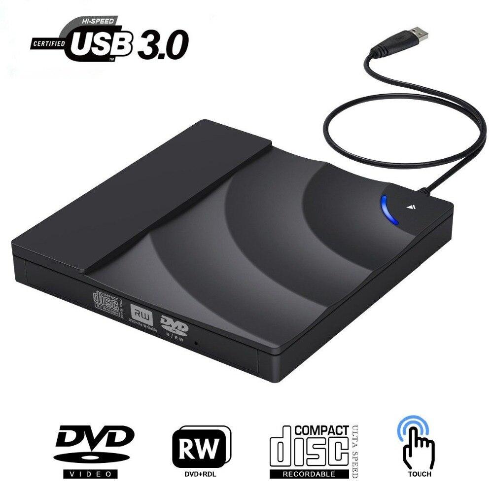 Drive de Alta Velocidade USB 3.0 CD DVD Drive de DVD externo Para O Portátil Do Desktop Portátil Slim CD DVD +/- RW Burner Jogador Escritor Rewriter