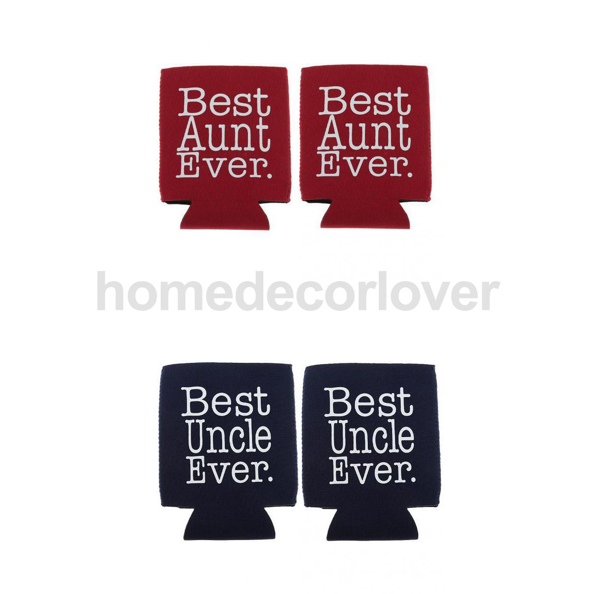 Us 434 21 Offfunny Best Aunt Ever 2pcs Best Uncle Ever 2pcs Beer Bottle Can Cooler Holder Birthday Gift In Party Diy Decorations From Home