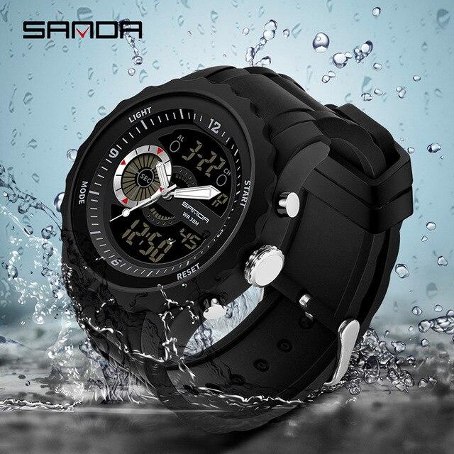 SANDA Men Analog Quartz Digital Watch Dual Display