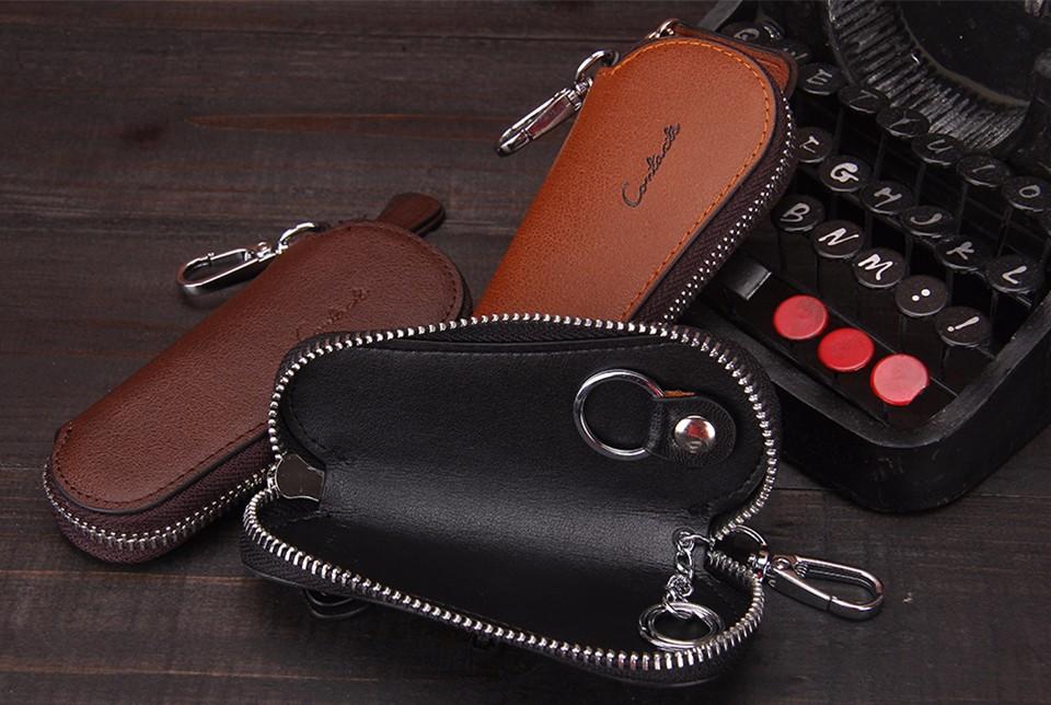 محفظة مفاتيح للرجال من الجلد الطبيعي 1