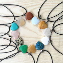Super Discount Fashion Natural Red Agates Malachite Tiger Eye Stone Heart Pendants & Necklaces For Women Men Child One 1PCS(China)