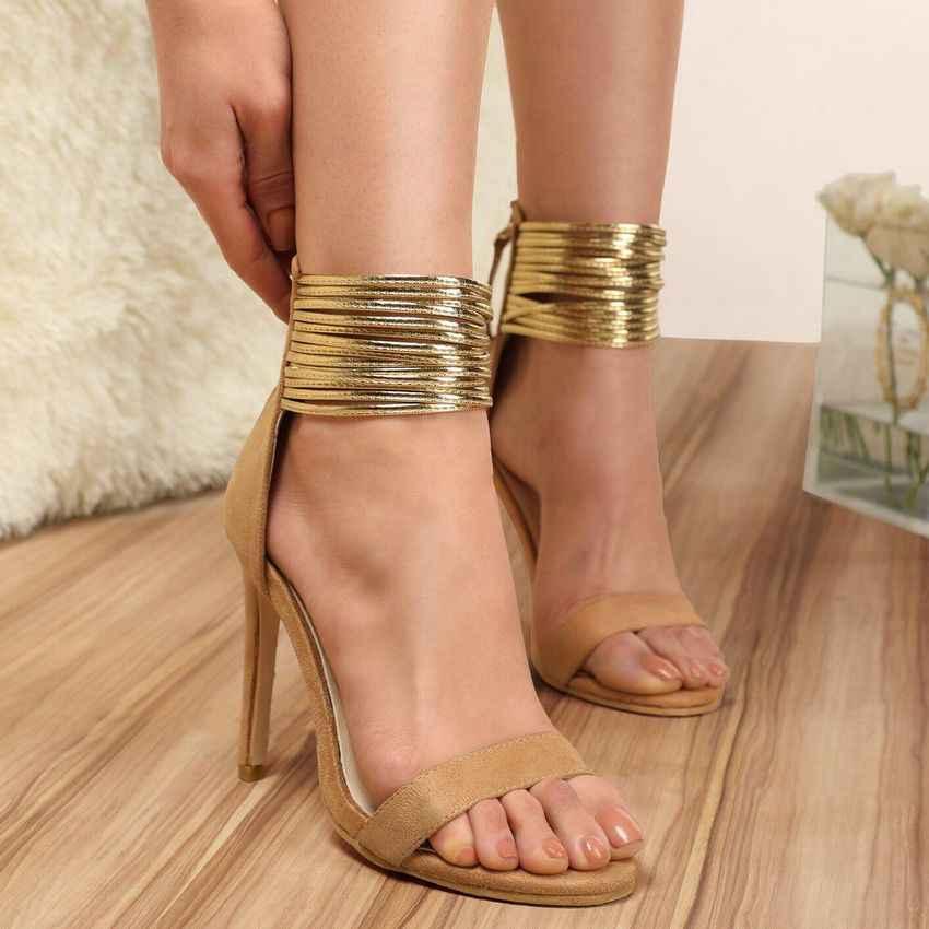 2019 Ремешок на щиколотке каблук Летние женские босоножки женские туфли-лодочки обувь Для женщин с открытым носком высокий тонкий каблук Сандалии под платье, для вечеринки Большие размеры 35–42