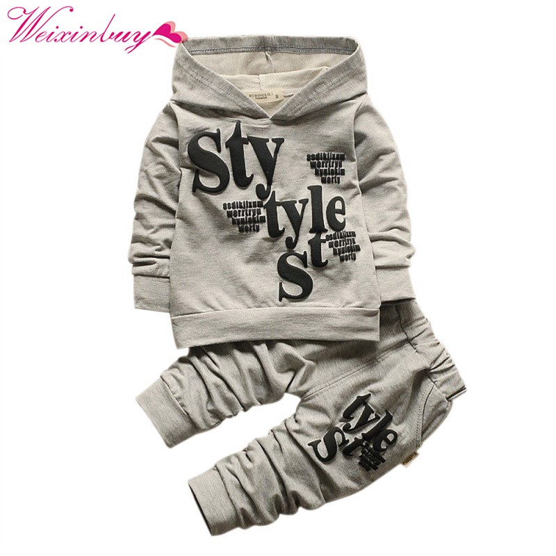 Letter pattern Autumn Fashion Children Clothing Sets Hoodie Long Sleeve +Pants Kids Boys Clothes Sports Suit Hot M2 autumn winter boys girls clothes sets sports suits children warm clothing kids cartoon jacket pants long sleeved christmas suit
