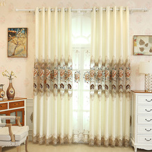 European luxury Beige embroidered window curtains living room windows High quality hotels suitable for bedroom