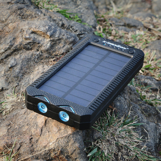 Solar Power Bank 15000mAh Solar External Battery with Electric Cigarette Lighter Charge for iPhone Samsung LG HTC Sony and more.