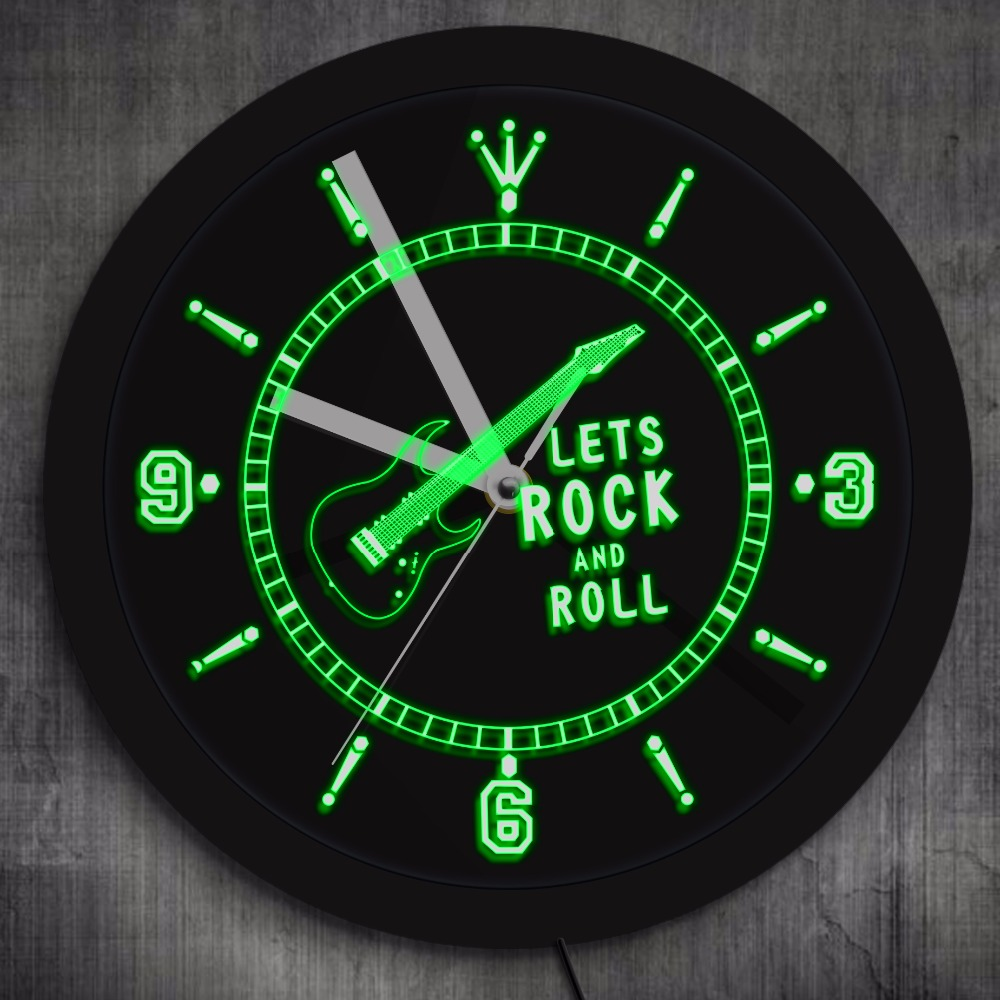 Rocking Guitar Led Lighted Wall Watch Rock N Roll Neon