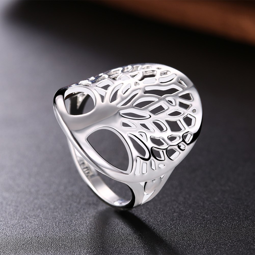 New Tree of Life Ring Classic Accessories hollow Style Silver Plated Unique Novelty Style erkek Women male Lady Gift 925 jewelry