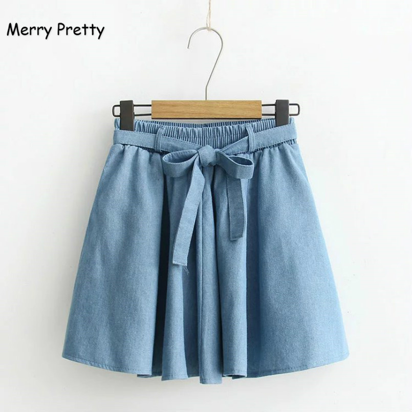 Merry Pretty New Fashion WomenDenim Skirt Elastic High Waisted Jeans Mini Sweet Skirts Girls Denim Blue Pleated Skirts with Bow