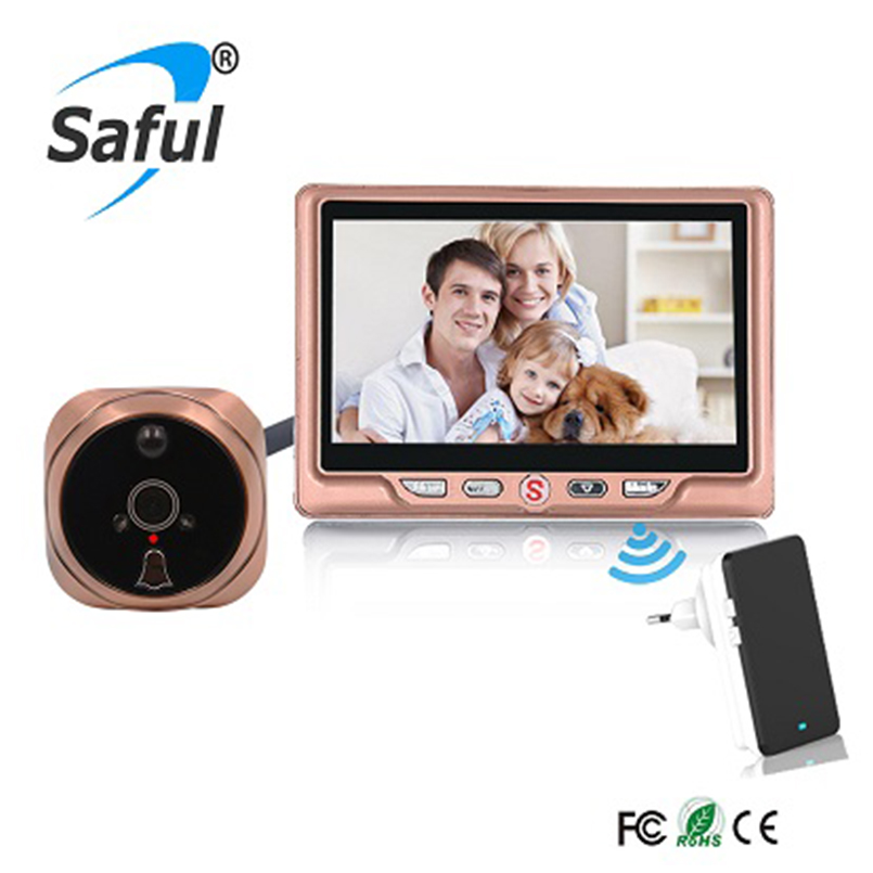 Saful 4.3 Digital video door viewer with Multi-languages recordable peephole Home Sercurity with one wireless doorbell hot sale image