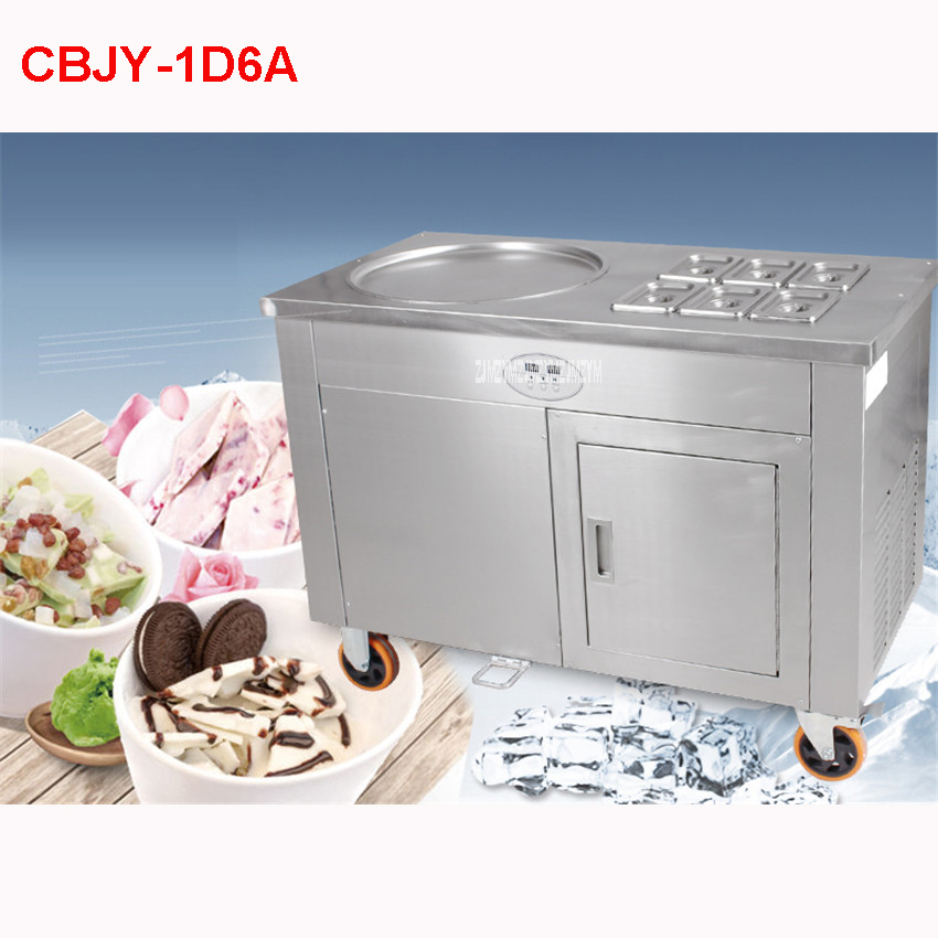 shipping by sea CBJY 1D6A 45cm single round ice pan with 6 topping tanks fried ice cream roll machine with refrigerated cupboard